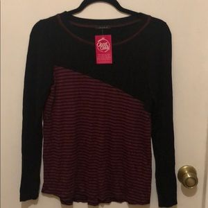 New with tags Black and burgundy striped top